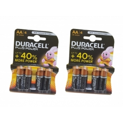 8 BATTERIE PILE DURACELL STILO AA PLUS POWER BLISTER CONFEZIONE