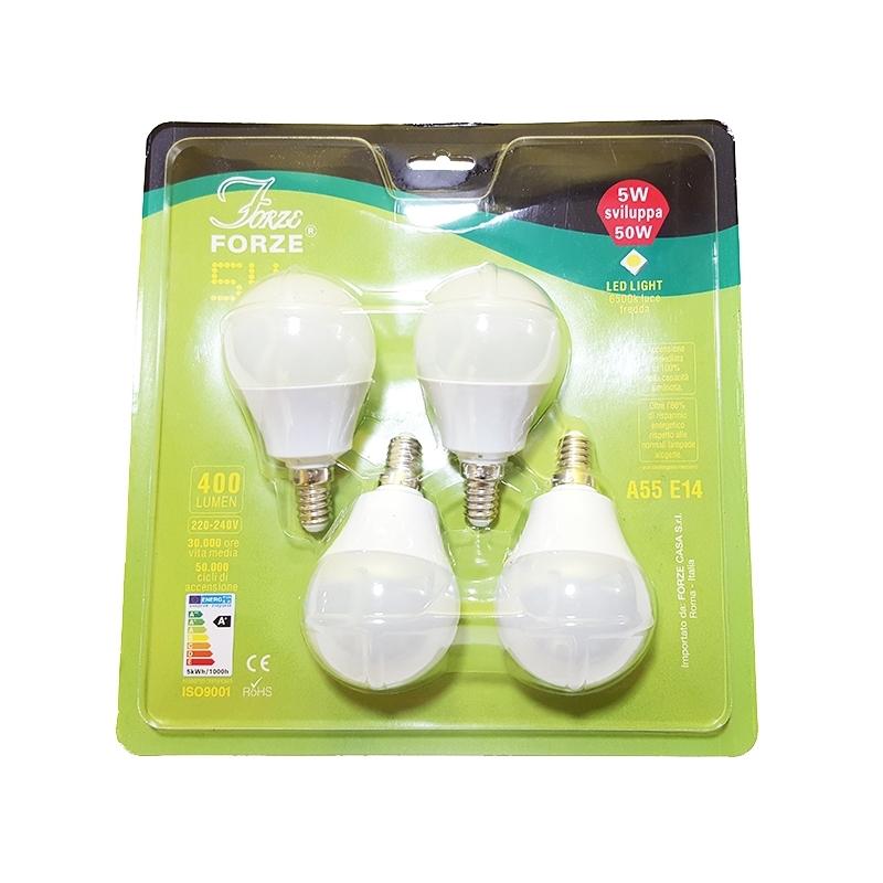 4 lampadine a led luce fredda da 5 watt 50 watt risparmio for Lampadine led watt