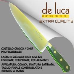 """COLTELLO CUOCO PROFESSIONALE """" DE LUCA """" FORGIATO MANICO RESINA POM LAMA INOX"""