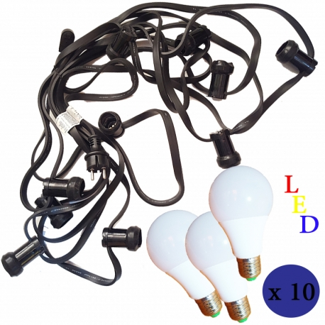 CAVO FILO ELETTRICO DA 10 METRI CON 10 PORTALAMPADA PROTETTI + 10 LAMPADINE LED